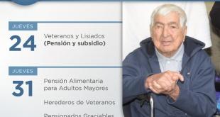 El pago correspondiente a los veteranos se realizará a partir de las 18:00 horas, vía red bancaria.
