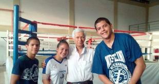 Eduardo Núñez, Samira Lezcano, el Pdte. de la APLO, Carlos Raúl Gutiérrez y Marco Montiel.