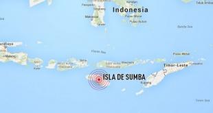 Un terremoto de magnitud 6,1 sacudió hoy la isla de Sumba, en el sur de Indonesia.