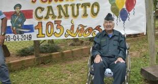 Excombatiente de la Guerra del Chaco, Don Canuto González Britos, festejó en la compañía Potrero Oculto, sus 103 años de vida.