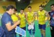 El técnico de la selección franqueña, Andrés Bogado, dando indicaciones a sus dirigidos. Foto: Fútbol de Salón de Pdte. Franco.