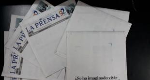 La portada en blanco de La Prensa.