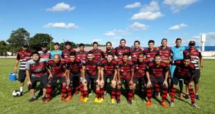 Plantel de Minga Guazú, puntero del grupo B, en la pre Copa Paraguay. Foto: Liga Minguera de Fútbol.