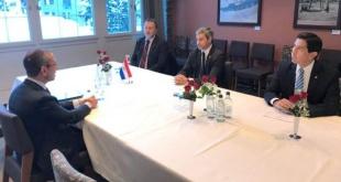 Durante el encuentro mantenido de la comitiva paraguaya en Suiza.