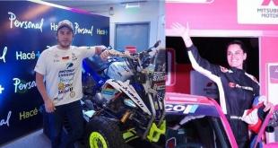 Nelson Sanabria con su quads y Andrea Lafarja en la categoría autos.