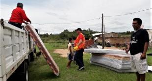 Personal de la Dirección General de Reducción de Riesgos de la SEN se trasladó esta mañana hasta la compañía Pedrozo de Ypacaraí.