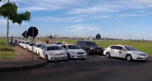 Taxistas manifestaron su rechazo al funcionamiento de MUV, sobre las calles Mariscal Estigarribia y Pedro Juan Caballero.