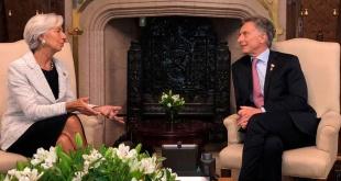 Cristine Lagarde junto al presidente Mauricio Macri en Casa Rosada.
