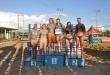 El podio en femenino de la primera fecha del Circuito Nacional de Vóley de Playa. (Foto COP).