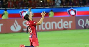 Los goles para el Ciclón lo hizo Nelson Haedo. Foto: César Olmedo - ADN Paraguayo.