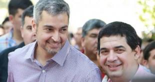 El presidente Mario Abdo Benítez y su vice Hugo Velázquez.