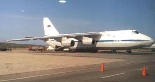 Se trata de un avión de carga Antonov An-124 y una aeronave de pasajeros Ilyushin Il-62. Foto:  @FedericoBlackB.