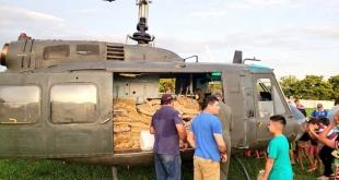 Parte de los víveres transportados en helicóptero hasta Paso Barreto.