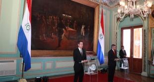 El presidente encargado de Venezuela, Juan Guaidó, se reunió con el feje de Estado de Paraguay, Mario Abdo Benítez. Foto: @PresidenciaPy.