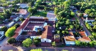 Vista aérea del sector más antiguo de la ciudad de San Patricio.